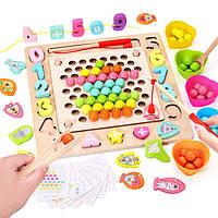Деревянная игрушка Мозаика-рыбалка-вкладыши «Шарики», развивающие товары для детей.