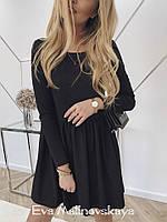 Женское платье трикотаж черный серый марсала S M