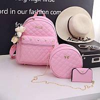 Женский рюкзак 3в1 на змейке экокожа розовый