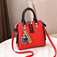 Женская сумка на змейке экокожа красный
