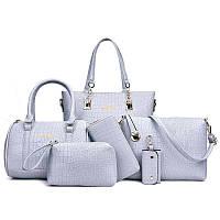 Женская сумка 6в1 экокожа серый