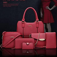 Женская сумка 6в1 экокожа бордовый