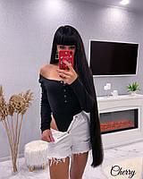 Женское бодина кнопкахджерси черный серый 42-46