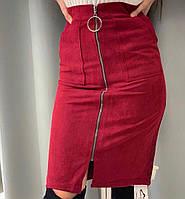 Женская юбка на молнии замш черный красный 42-44 44-46