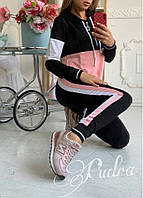 Женский спортивный костюм с капюшоном двунить черный с розовым черный с голубым 42 44 46 48