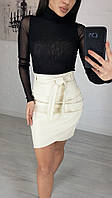 Женская юбка экокожа черный молоко 42 44 46 48