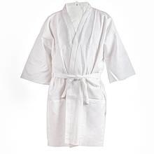 Вафельный халат Luxyart Кимоно, размер детский, белый (LS-037)