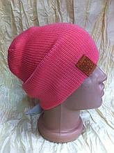 спортивная шапка двусторонняя  двойной вязки   унисекс цвет  малиновый + розовый