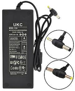 Блок питания адаптер 12V 10A (два порта 5,5х2,5 мм и 3.7х2.2 мм) + кабель питания (0319)