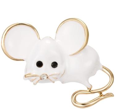 Брошь брошка значок белая крыса мышь металл супер как живая ШКОДНАЯ!
