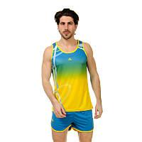 Форма для легкой атлетики мужская LD-8301-1 (полиэстер, р-р M-3XL-160-185см, синий-желтый-зеленый)