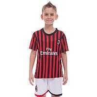 Форма футбольная детская AC MILAN домашняя 2020 CO-0977 (р-р 20-28-6-14лет, 110-155см, красный-черный-белый)