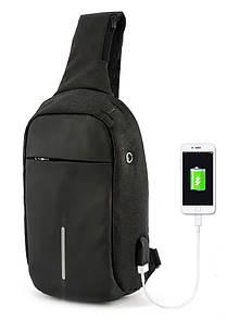 Рюкзак Bobby однолямочный через плечо с USB зарядным и портом для наушников черный (13928)