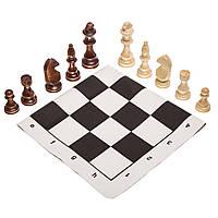 Шахматные фигуры деревянные с полотном ткань для игр 405P (дерево, h-10,5см)