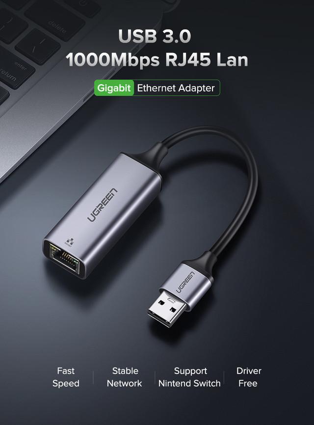 Внешняя сетевая карта / Сетевой адаптер USB 3.0 Gigabit Ethernet LAN RJ45 10/100/1000Mbps Ugreen 50922
