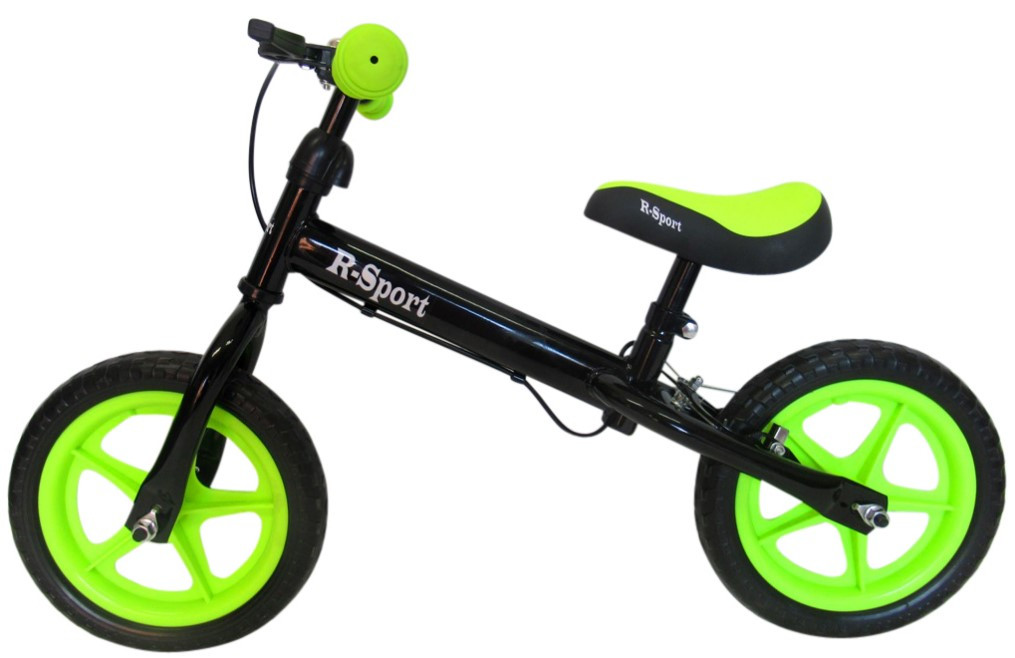 Беговел для детей от 2 3 4 лет R-Sport R4 колеса 12 пена тормоз черно-зеленый