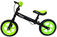 Беговел для детей от 2 3 4 лет R-Sport R4 колеса 12 пена тормоз черно-зеленый, фото 1