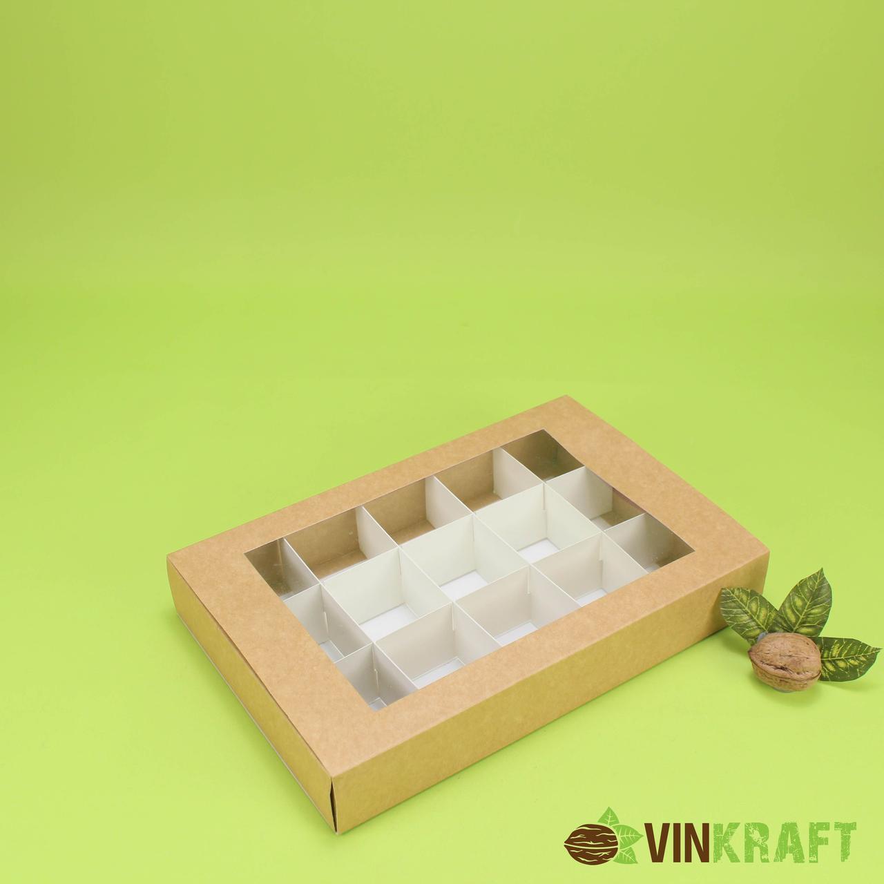 Коробка 240*150*42 для десертів (15шт) з вікном, крафт