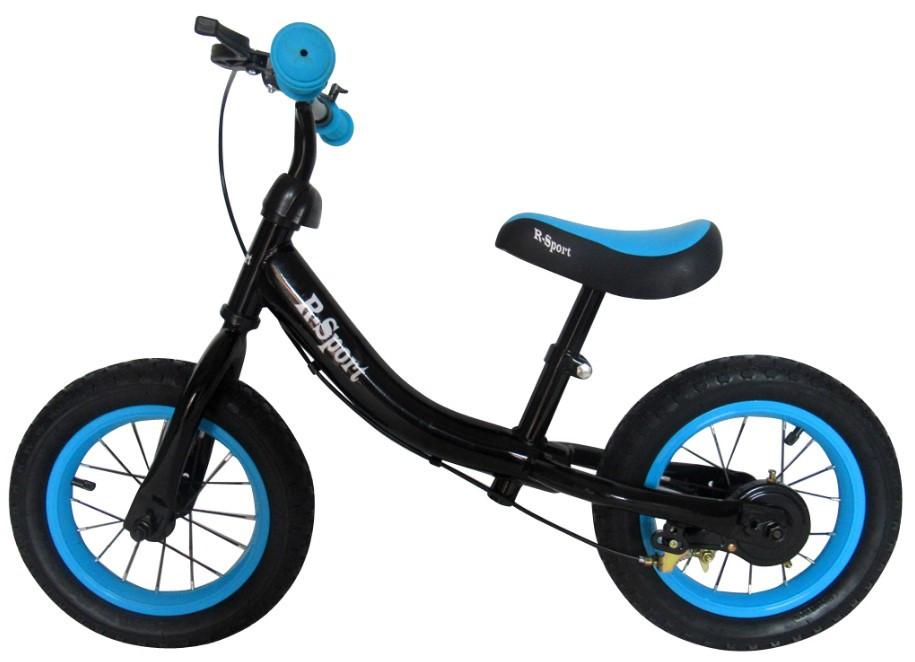 Беговел для детей от 2 3 4 лет R-Sport надувные колеса 12 тормоз черно-синий