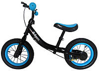 Беговел для детей от 2 3 4 лет R-Sport надувные колеса 12 тормоз черно-синий, фото 1