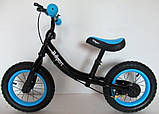 Беговел R-Sport надувные колеса 12 тормоз черно-синий, фото 3