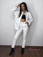 Женские белые брюки из эко-кожи, фото 1