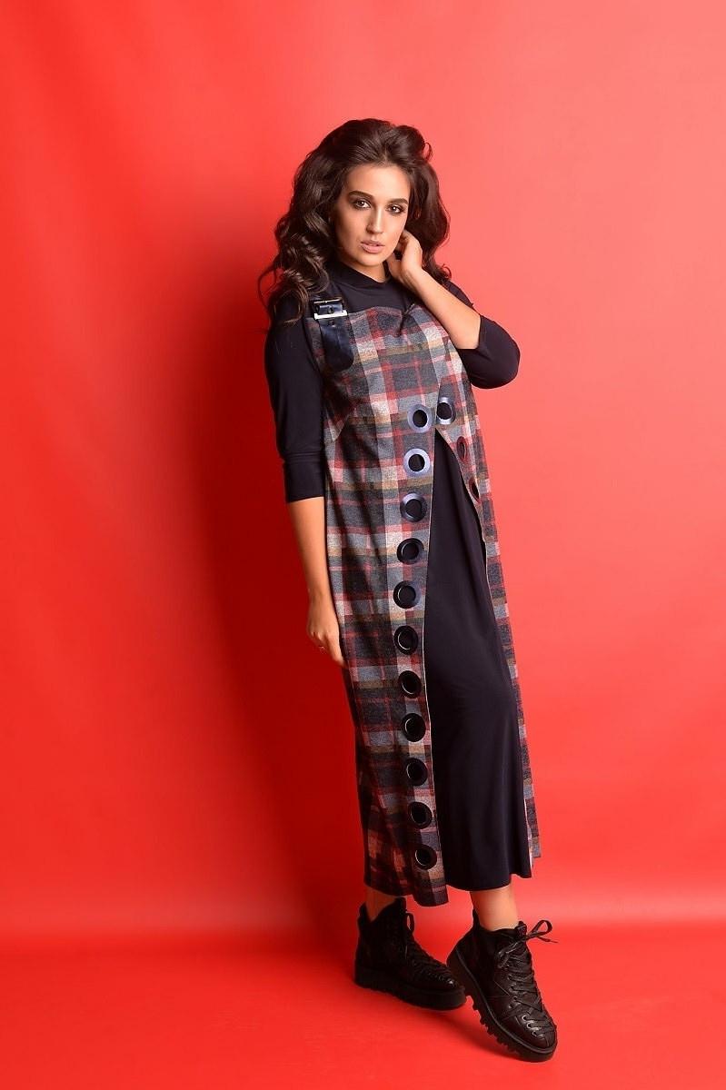 Деловое платье больших размеров с имитацией сарафана 50-62
