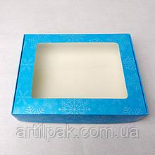 Коробка для пряника 192*148*40 Сніжинка Блакитна з прозорим вікном