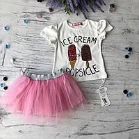 Летний костюм на девочку Мороженное. Размер 92 см, 98 см, 104 см