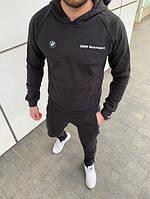 Мужской черный спортивный костюм с капюшоном