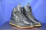 Високі чорні підліткові кросівки в стилі Nike Lunar Force LF1, фото 3