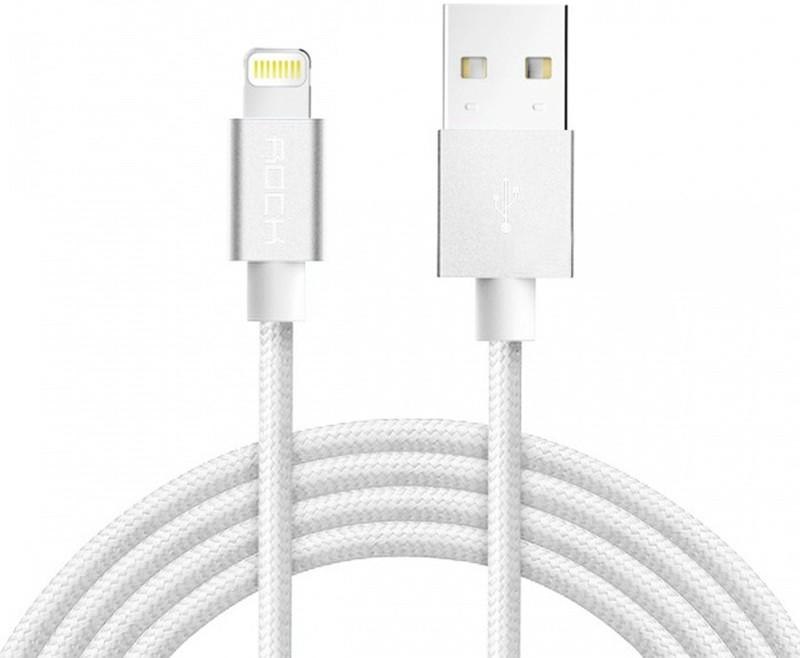 Кабель синхронизации ROCK Space MFI Metal Charge & Sync round cable Lightning 1m (White)
