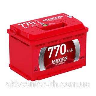Автомобильный аккумуляторы MAXION PREMIUM 6СТ-77 А2E R