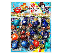 """Игра запускалка """"Bakugan"""" шарик 5.5см, герой, карточка, отрывные(в пакете), 12шт на планшетке// (R59)"""