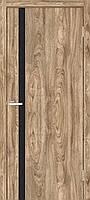 """Двери межкомнатные ОМиС """"Сити"""" глухие + черное зеркало дуб Ориндж (Natural Look) (600,700,800,900 мм)"""