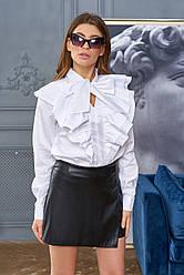 Белая рубашка женская с оборками хлопок