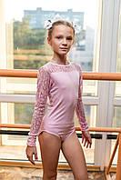Купальник гимнастический, для занятия танцами и гимнастикой, вставка гипюр.