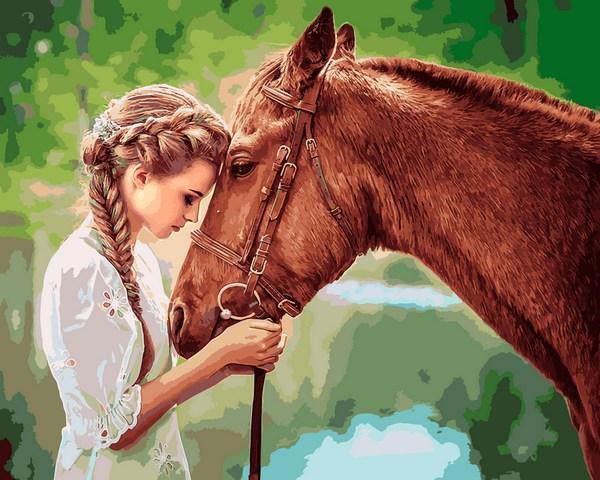 Картины по номерам 40×50 см. Девушка и лошадь купить в ...
