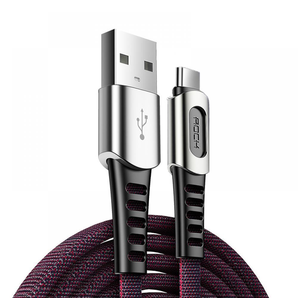 Кабель синхронизации ROCK M8 Zinc-alloy Type-C Charge & Sync Cable 2A 1m Black (820201000418)