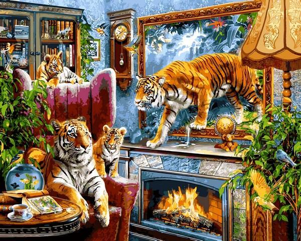 Картины по номерам 40×50 см. Тигры