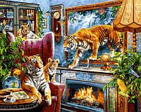 Картины по номерам 40×50 см. Тигры, фото 1