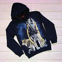 ✅Кофта с капюшоном для мальчика с принтом волка Светится в темноте 128