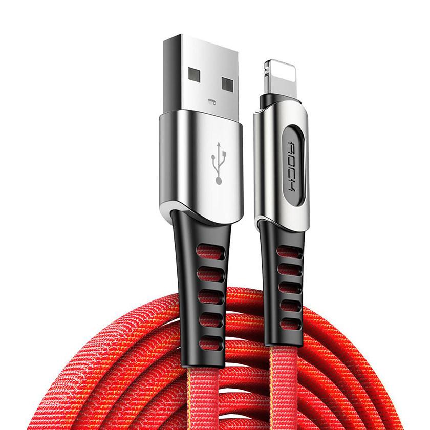 Кабель синхронизации ROCK M8 Zinc-alloy Lightning Charge & Sync Cable 2A 1m Red (820201000416)
