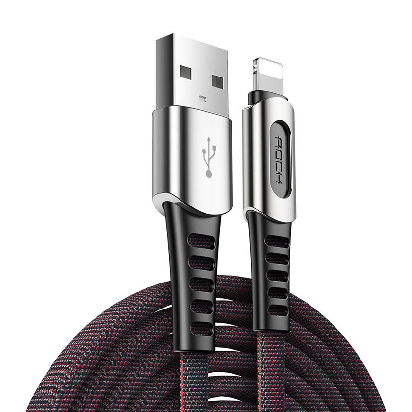 Кабель синхронізації ROCK M8 Zinc-alloy Lightning Charge & Sync Cable 2A 1m Black (820201000415)
