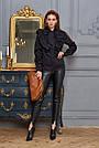 Чёрная рубашка женская с оборками, хлопок, фото 3