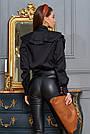 Чёрная рубашка женская с оборками, хлопок, фото 2