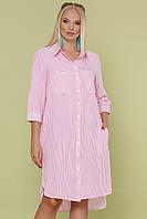 Женское платье-рубашка большого размера в полоску