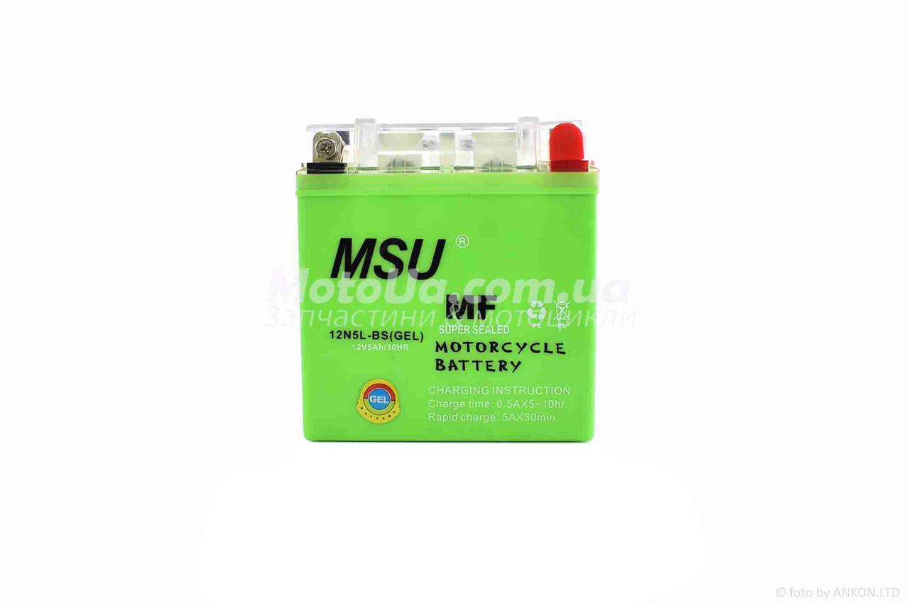 Аккумулятор 5A 12V (12N5L-BS) MSU гелевий - високий 120x60x130