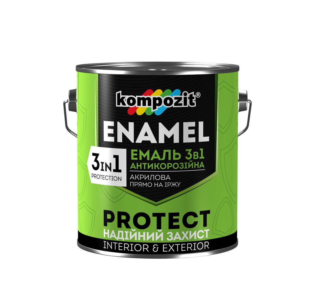 Эмаль антикоррозионная Kompozit 3в1 PROTECT (10 кг) Коричневая