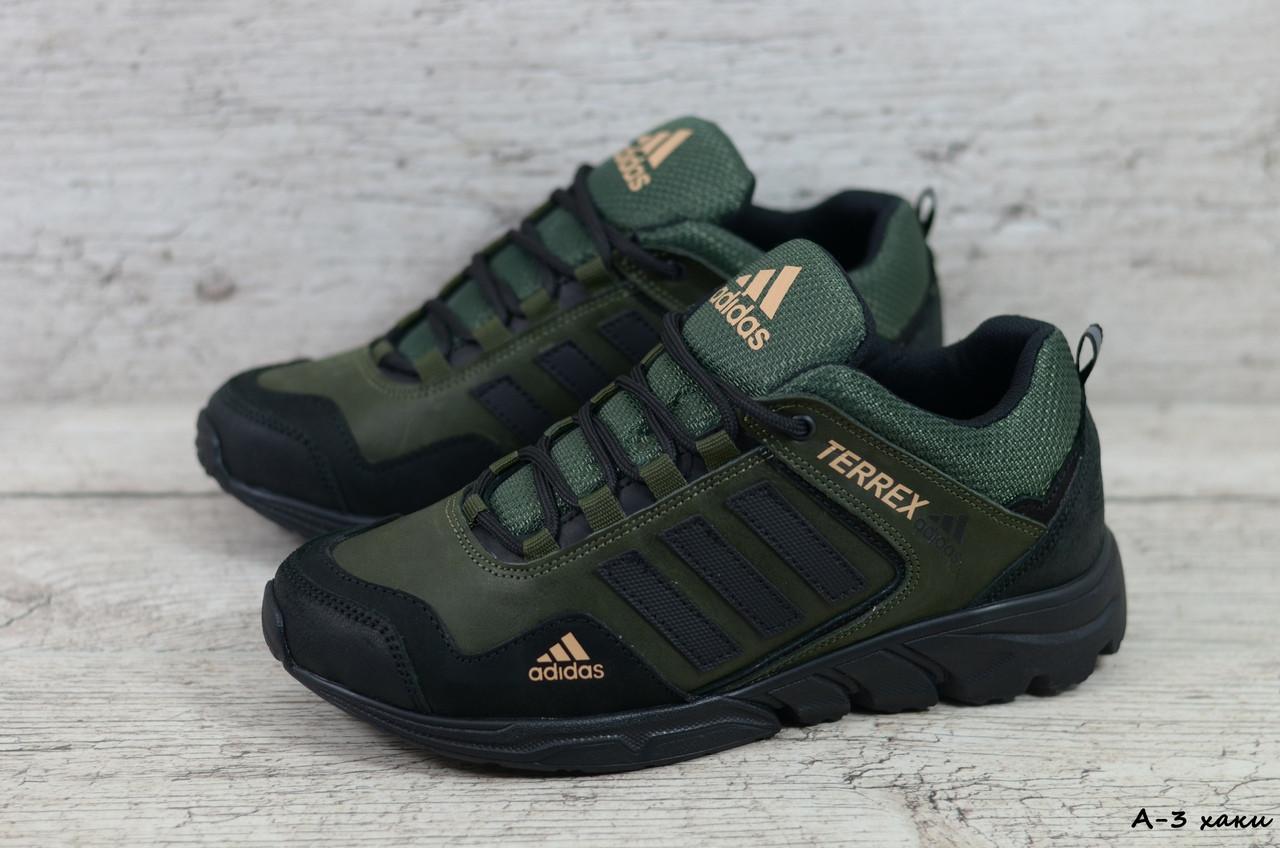 Мужские кожаные кроссовки Adidas (Реплика) (Код: А-3 хаки  )  ► Размеры в наличии ► [40,41,42,43,44,45]